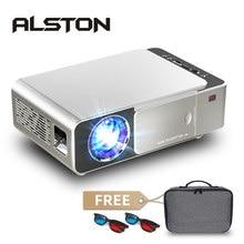 Alston t6 mini projetor led suporte 4k 3d 3500 lumens android wifi bluetooth portátil cinema beamer para smartphone com presente