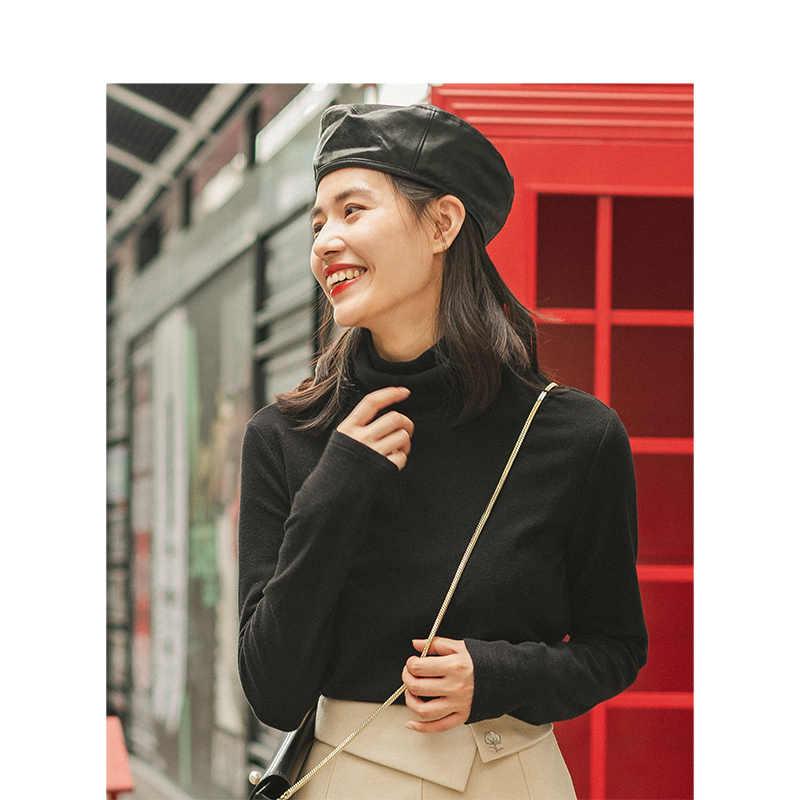 INMAN bahar sonbahar kış viskon elastik yüksek yaka moda tüm eşleşen rahat edebi kadın T-shirt