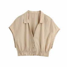 2020 women fashion khaki za sleeveless short blouse feamel summer single breasted v-neck elastic shirts tops femme(China)