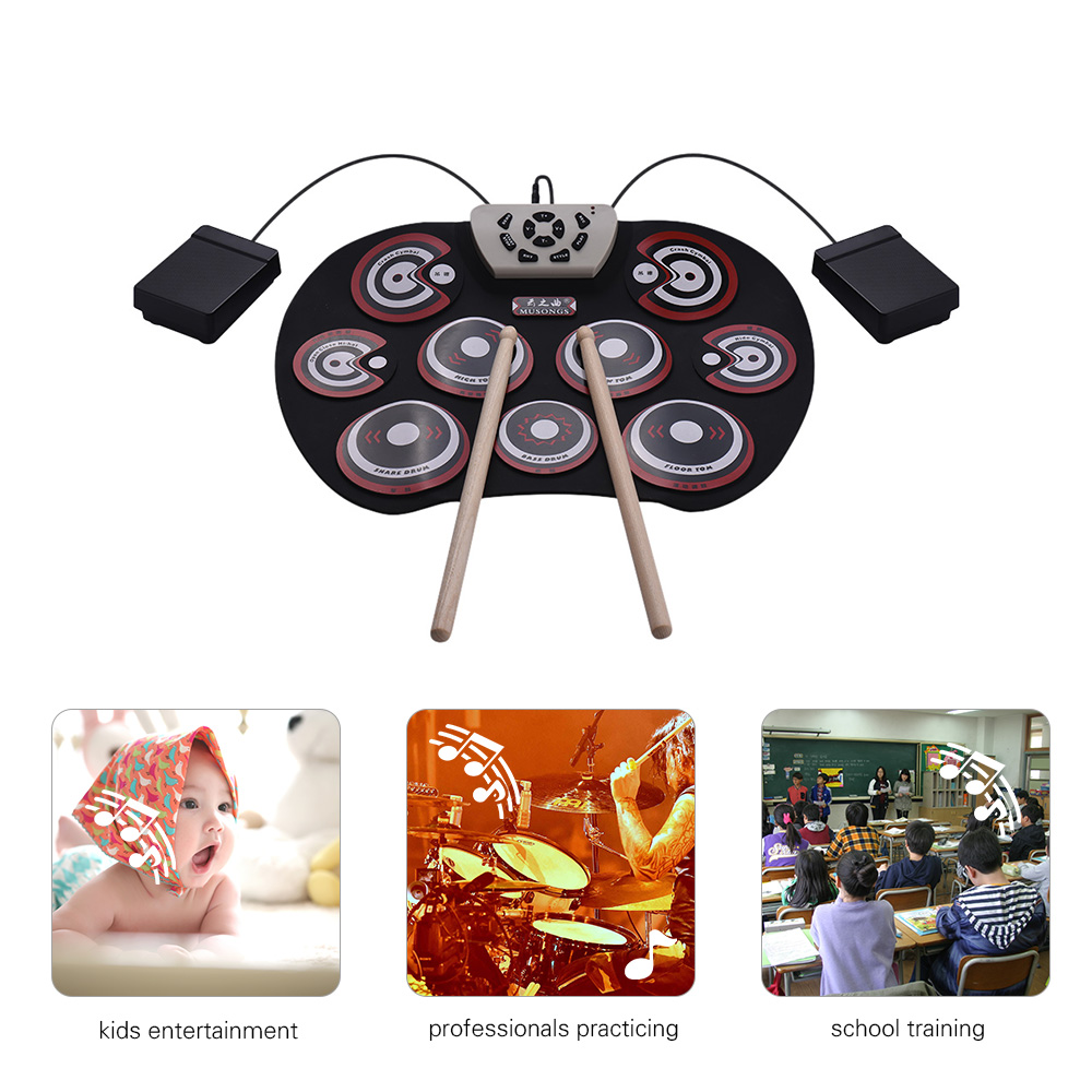 Electronic Drum Pad USB Cable Foldable Roll Up Drum Set with Drumsticks Double Foot Pedals Percussion Instrument for Kids