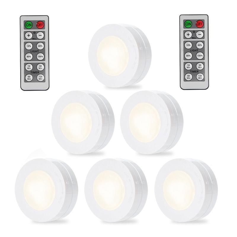 6pcs Led Light Remote Controlled Closet Light 4000k Super Bright Cabinet Lamp Kitchen Bedroom LEDs Lightning Lights With 3M Glue|Under Cabinet Lights| |  - title=
