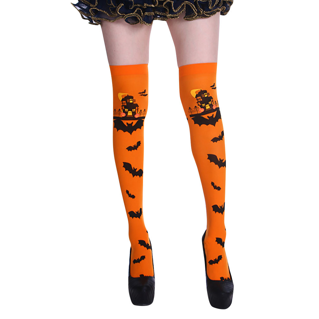 Long Socks Women Cartoon Bat Print Pattern Halloween Long Cotton Socks Stockings Thigh High Socks Wholesale Free Ship чулки Z5