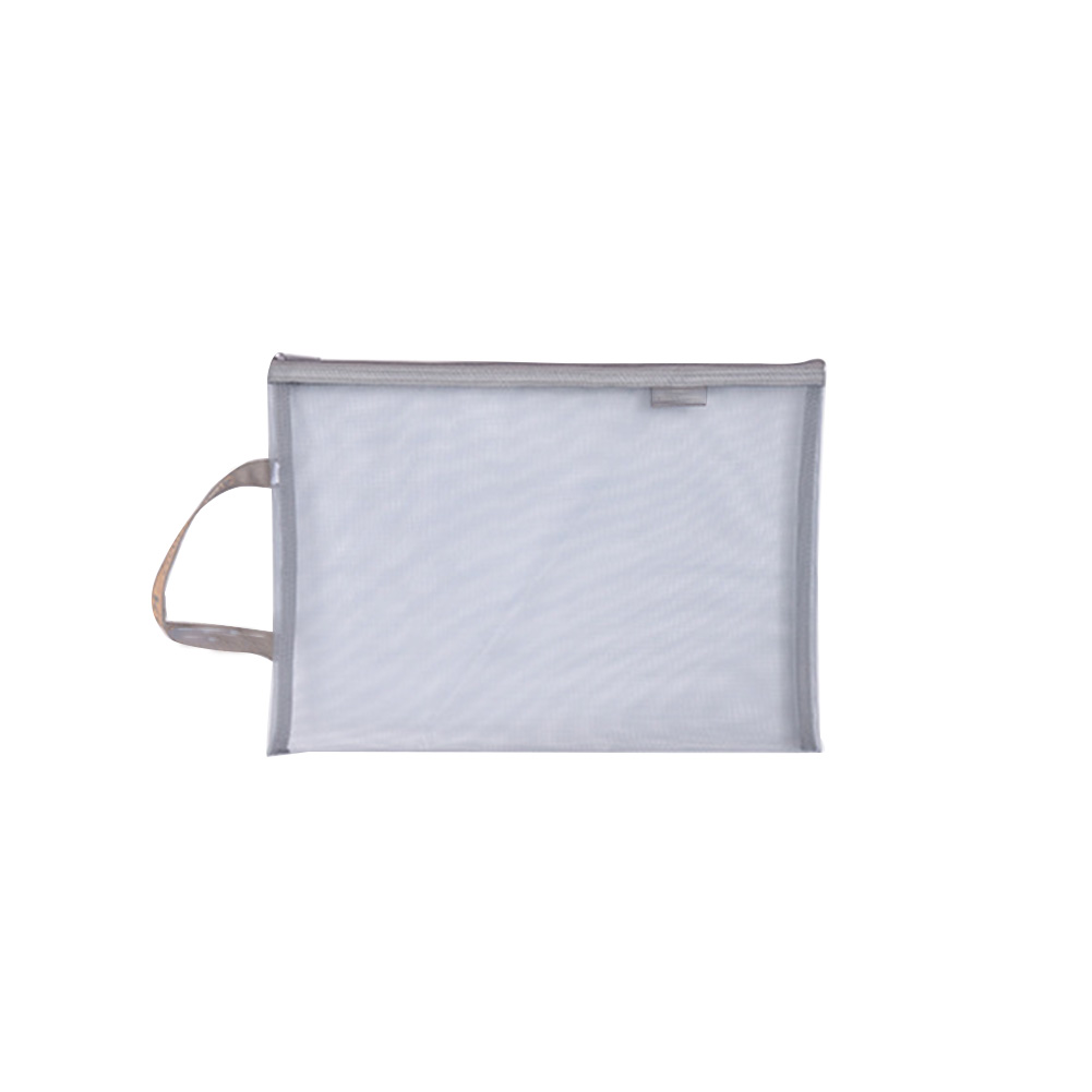 For Students Stationery Nylon Portable A4 A5 Solid Transparent Gridding Office School Storage Holder Document Bag Zipper Closure