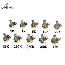 10 шт., линейный потенциометр WH148, B1K, B2K, B5K, B10K, B20K, B50K, B100K, B250K, B500K, B1M, 15 мм, вал с гайками, шайбы, 3pin, WH148