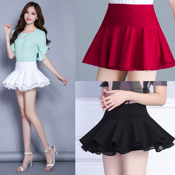 2020 New Japanese High Waist Stretch Pleated Chiffon Double Layer Miniskirt Sexy Skirt midi skirt  white skirt  short skirt 2020 new mosaic chiffon pleated skirt contrasting color academic pleated skirt short skirt goth fashion a line above knee