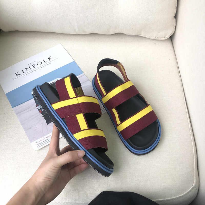 Sandały plażowe damskie Gladiator Sandalias Mujer 2020 płaskie buty damskie letnie paski Sandalia Feminina moda Zapatos De Mujer