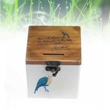 1pcレトロ貯金箱の木製貯金箱の保存ポット宝箱と穴ロック (青鳥)