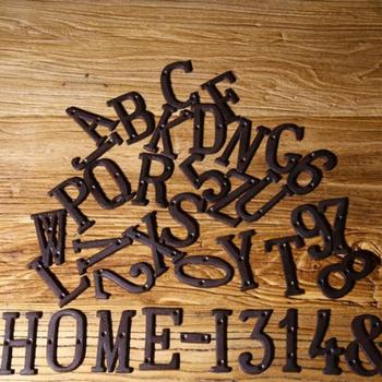 Od A do Z od 0 do 9 metalowe litery i cyfry Z kutego żelaza litera alfabetu znaki numeryczne drzwi domowe znaki pokoju adresowego ze śrubami 8cm tanie i dobre opinie iron house number door number metal alphabet letters house number sign house number plate house sign Metal door number Metal Iron number