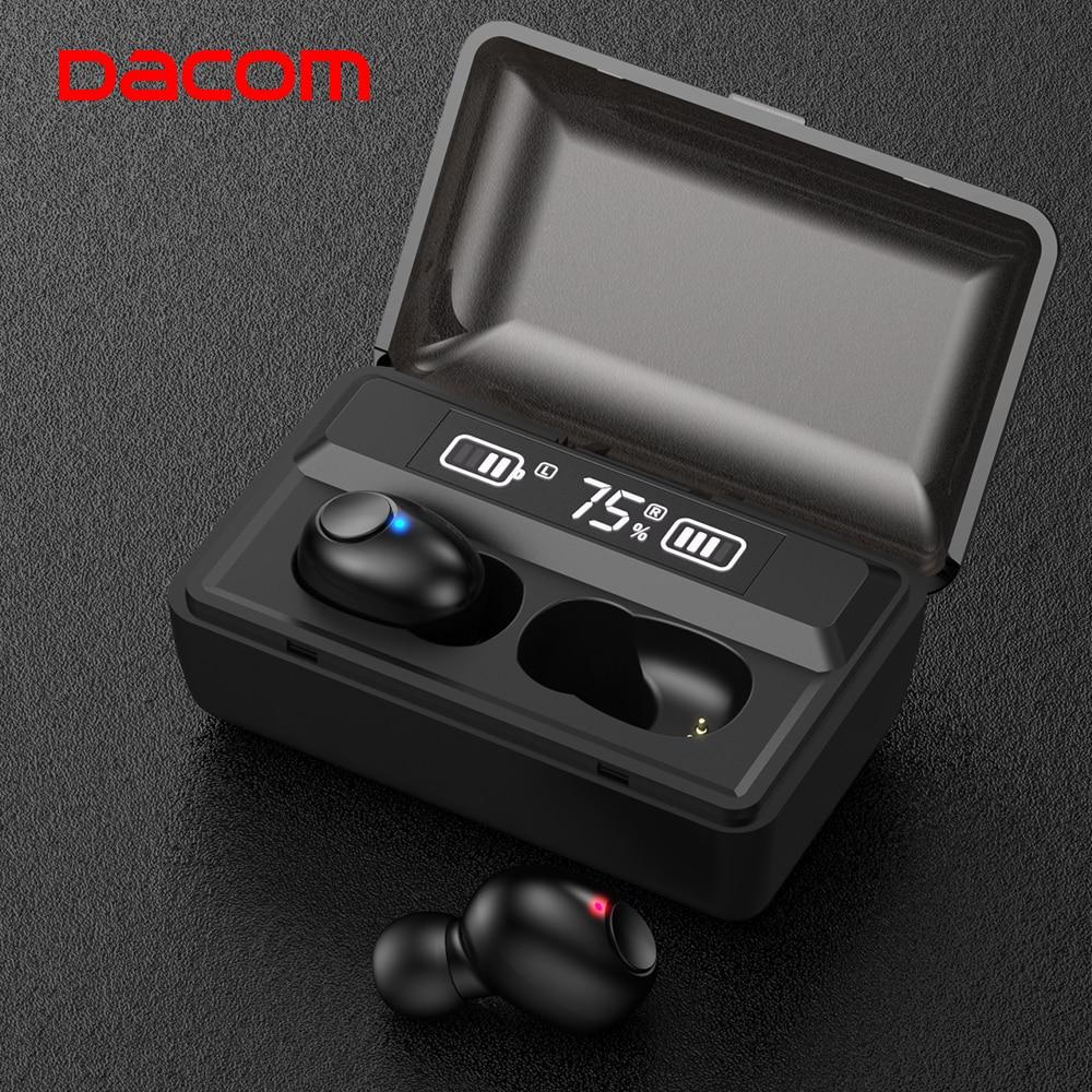 DACOM T8 Беспроводные наушники с басами Bluetooth 5,0 наушники Водонепроницаемые Мини настоящие Tws наушники со светодиодным дисплеем PK i12 tws