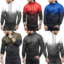 Goocheer 2019 Fashion Men Gradient Sports Tracksuit Set Zipper Hoodies Outwear Sweatshirt