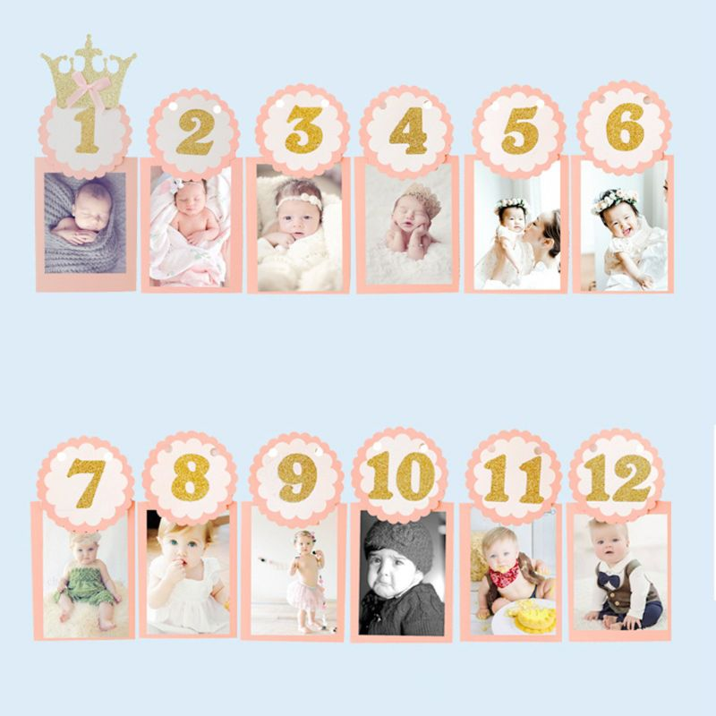 1 Set Baby Photography Props Photo Frame 1-12 Months Infants Shower Bathing Birthday Gift For Kids Room Decorations