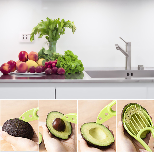 3 In 1 Avocado Slicer Peeler Cutter Tools Multifunction Fruit Splitter Plastic Knife Peeler Scoop Separator Tool Kitchen Gadget 4