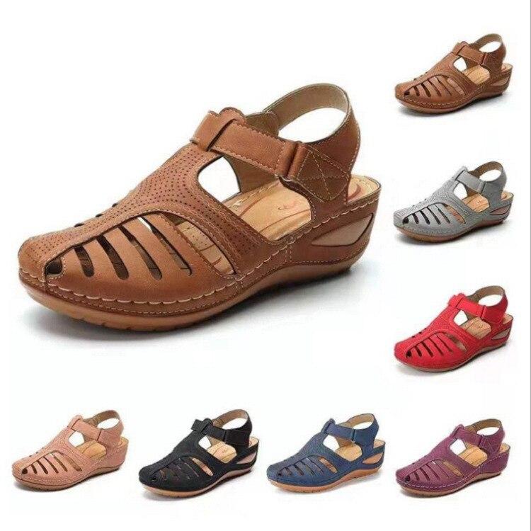 2020 Summer Flat Sandals Woman Ladies Fashion Leather Flat Solid Peep Toe Sandals Women Sandalias Zapatos De Mujer Plus Size
