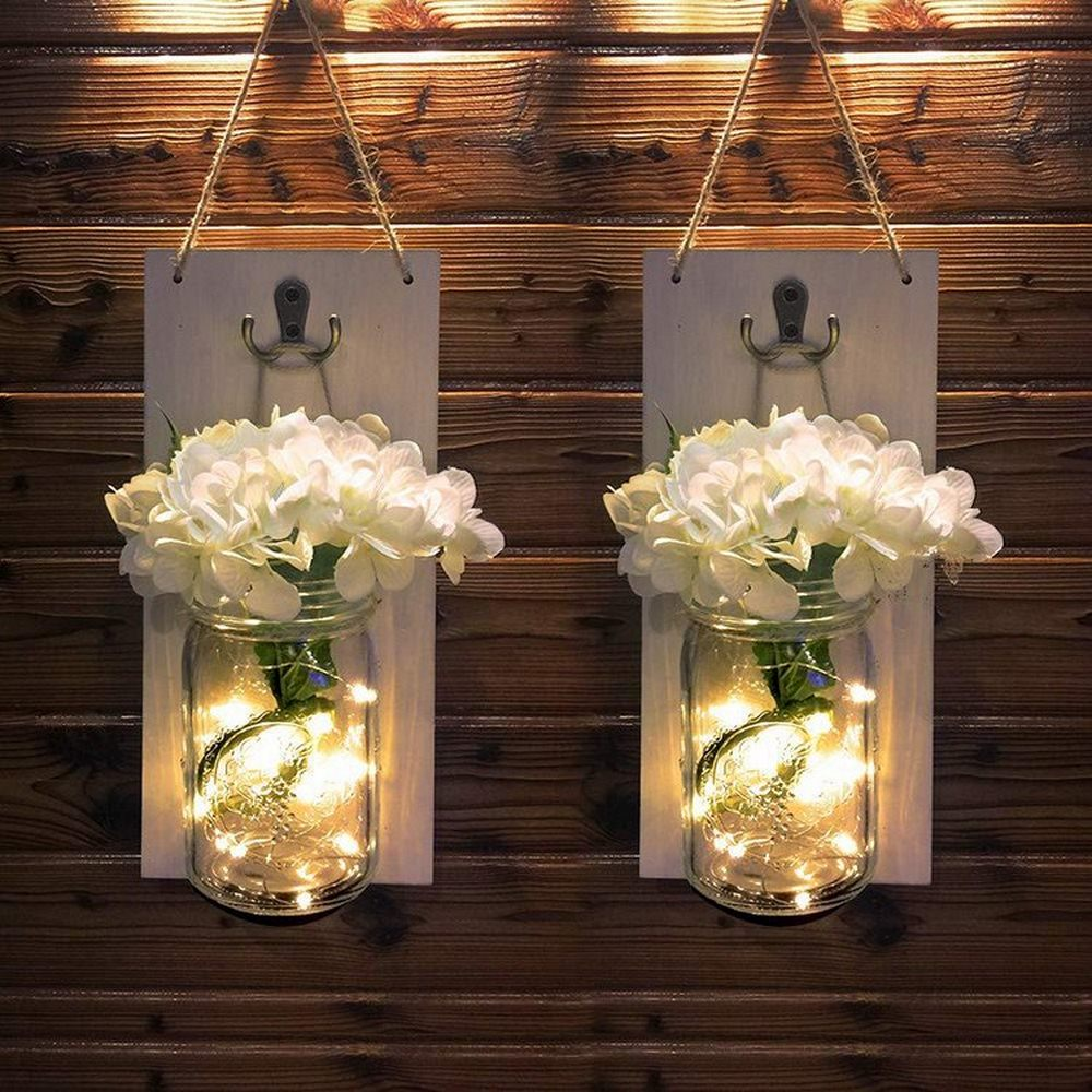 Wall Lamp LED Retro Mason Outdoor Courtyard Garden Hanging Lamp For Country Wedding Bar Bedroom Home Decoration