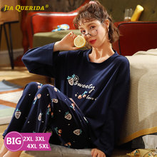 Plus Size Pajamas for Women Cotton Loungewear Strawberry Printing Two Piece Set Autumn Winter Home Clothes for Big Size Ladies
