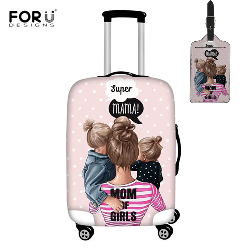 FORUDESIGNS 2pcs/set Travel Accessories Cartoon Girls Super Mom Print Luggage Protective Covers Cute Suitcase Covers Luggage Tag