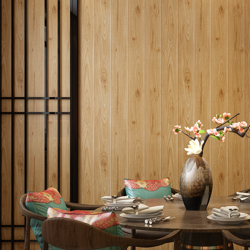 Chinese Style Model Wood Grain Wallpaper Nonwoven Fabric Board Wood Color Restaurant Hotel Storefront Library Entrance Living Ro