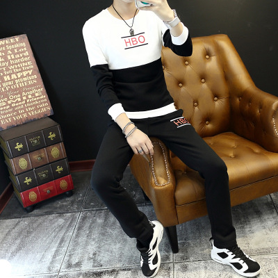 Fashion Crew Neck MEN'S Sweater Set Men's Autumn New Style Slim Fit Printed Casual Two-Piece Set Men's