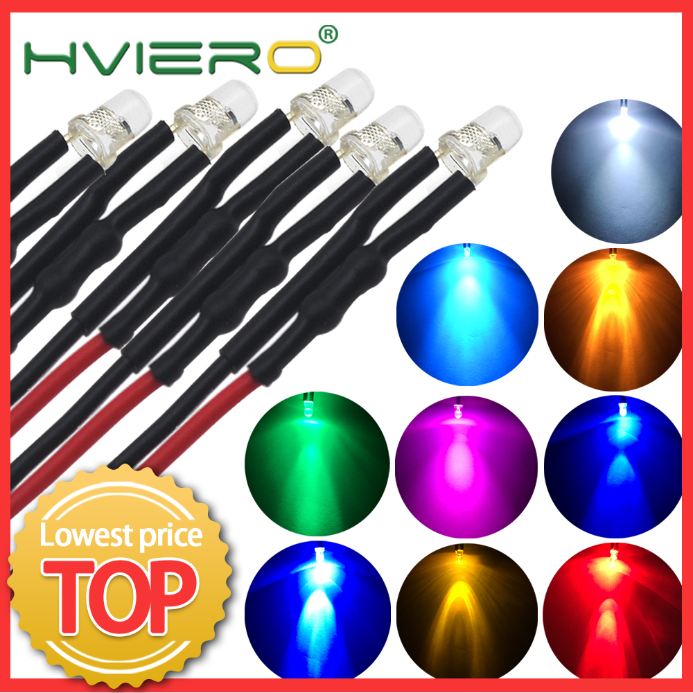 5X F3 3mm 20cm Pre Wired LED Round Light Lamp Bulb Chip Beads Cable DC 12V White Warm Red Green Blue Yellow Emitting Diodes