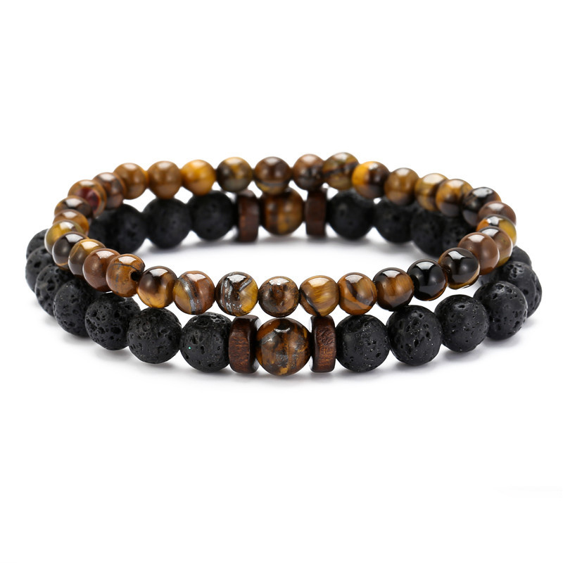 NIUYITID 6mm 8mm Lava Tiger Eyes Stone Bracelet Men Women Natural Beaded Couples Distance Friend Gift Charm Strand Jewelry