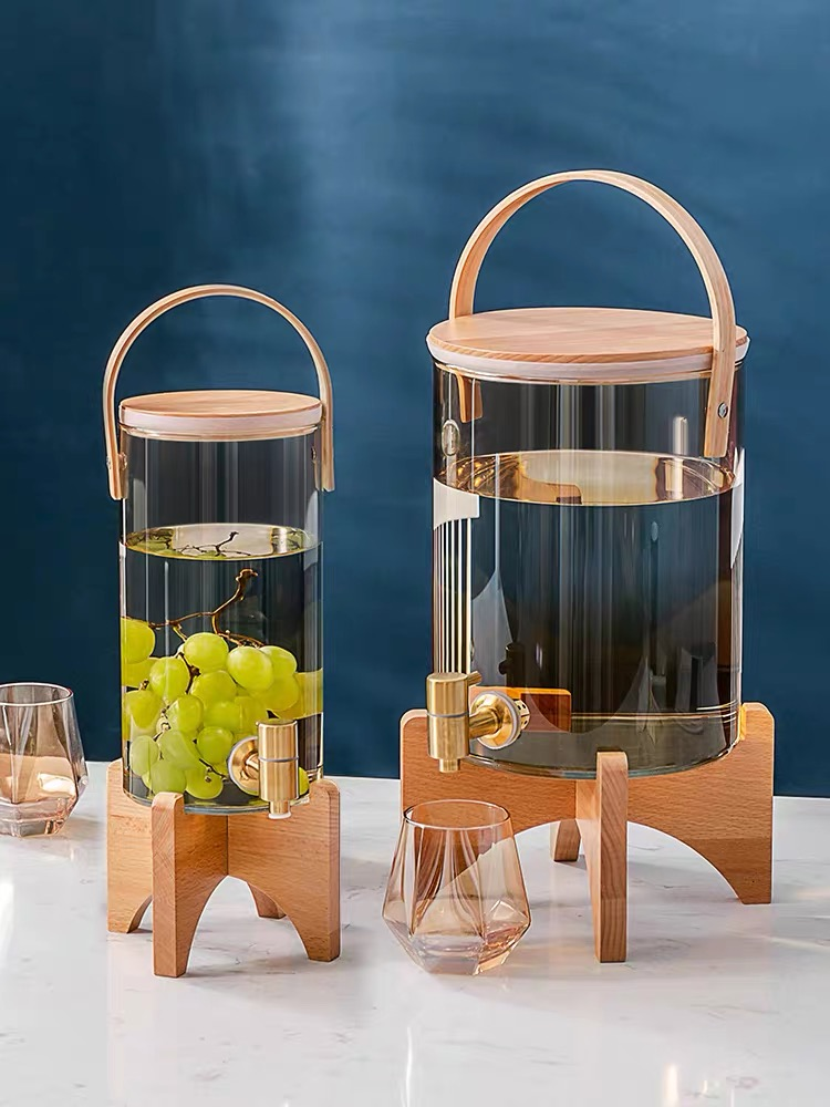 Glass Cold Water Pitcher Household Large Capacity With Tap Cups Wine Juice Barrel Heat Resistant Lemon Water Bottle