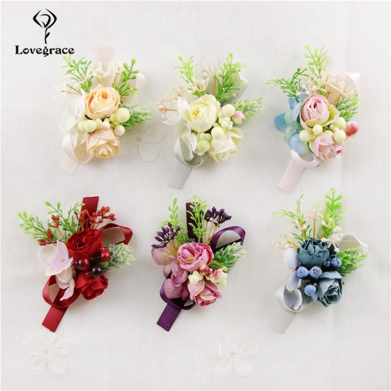 Lovegrace Silk Rose Flower Wedding Groomsmen Boutonniere Wrist Flower Bridesmaid Wrist Corsage Wedding Supplies Sister Bracelet