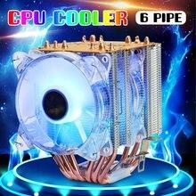 6 Heatpipes RGB Cooler Fan 3PIN CPU Cooler Fan PC Computer Silent Cooling Fans Heatsink Radiator for Intel LGA775/115X 1366&AMD