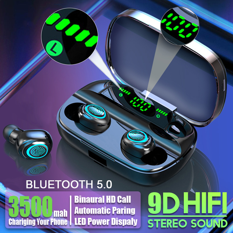 Hembeer Bluetooth Wireless Headphones with Microphone 3500mah Waterproof Earphones HIFI Stereo Noise Cancelling Headset Earbud