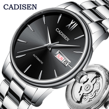 Cadisen relógios de pulso, masculinos, relógios mecânicos automáticos, japonês, nh36a, data da semana, top, marca de luxo, relógios de pulso, relógios masculinos