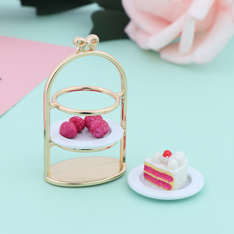 1PC 1/12 3D Miniature Food DIY Craft For Dollhouse Mini Cute Dessert Pan Cake Stand Fruit Tray Doll Kitchen For Dollhouse Decal