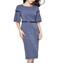 Women Elegant Dress Summer Chiffon Plain New Party Office Vestido 2019 Fashion Clothes Midi Female