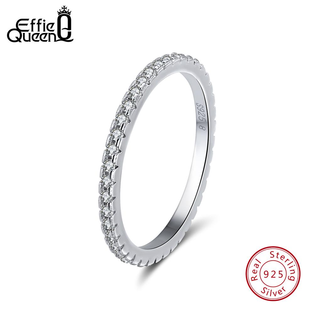 Effie Queen 925 Sterling Silver Women Classic Finger Rings Cubic Zircon Female Wedding Engagement Eternity Rings Jewelry TSR63