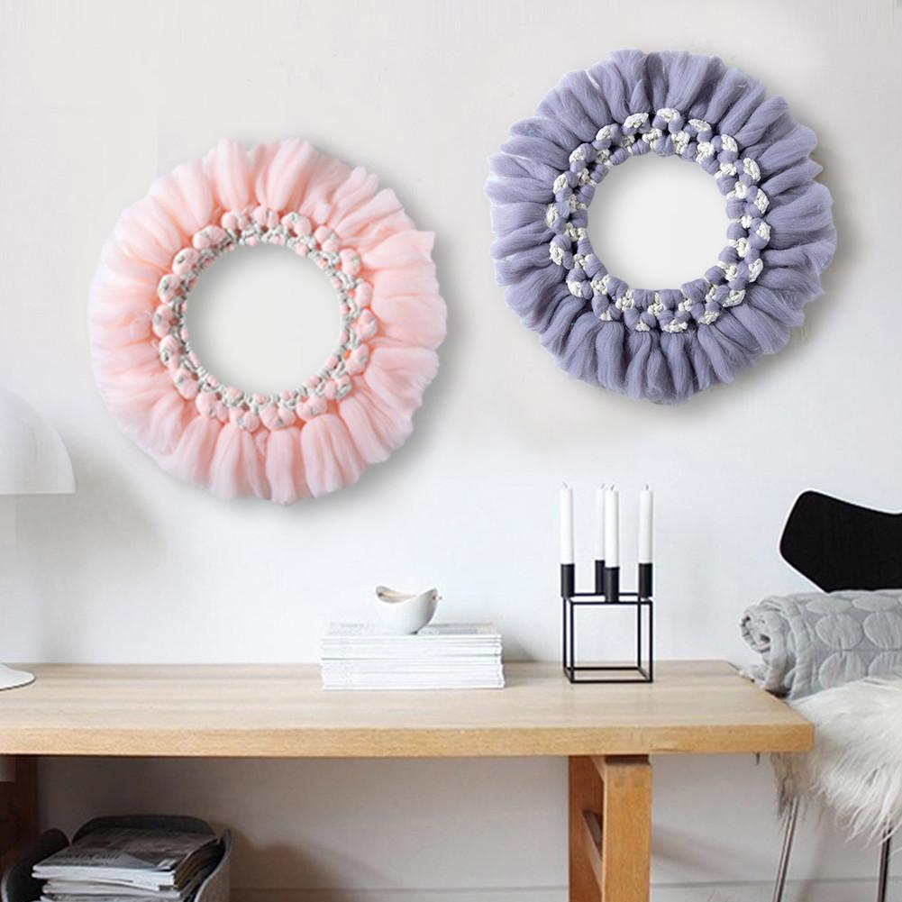 Macrame Wall Hanging Hand-woven Cotton Rope Round Flower Macrame Bohemia Wreath Room Decoration Wall Macrame Makramee