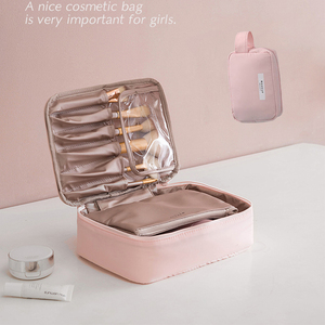 Beautician Cosmetic Bag Travel Make up Bag Quick Makeup Bag Toiletry Bag Organizer Pink Makeup Pouch Purse Waterproof Handbag(China)