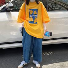 T-shirt à manches courtes imprimé pour femme, vêtement de rue ample, Style coréen, assorti, hauts à épaules tombantes, Chic, été