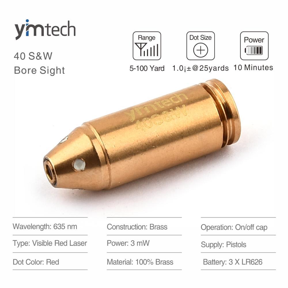 40S&W Cartridge Laser Boresighter Sight, Hot Selling Red Dot Bore Sight Laser Boresight Pistol Cartridge Gun Scope
