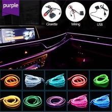 Car Interior LED Ambient Light EL Wire Rope Tube Strip Decoration Flexible Neon Lamp DIY Atmosphere Decor Lamp Line 1/2/3/5M