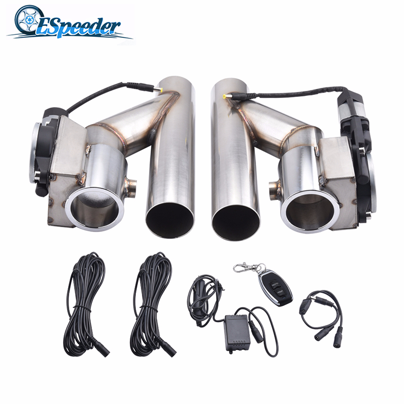 """3/"""" inch 76mm Exhaust Control E-Cut Out Valve Electric Y Pipe with Remote Kit"""