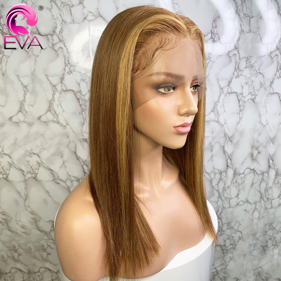 Eva Ombre Blonde Lace Front Human Hair Wigs Pre Plucked With Baby Hair Ombre Honey Blonde Straight 13x6 Lace Front Wig Brazilian