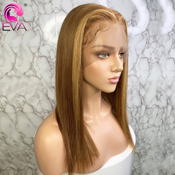 Pelucas de cabello humano frontal de encaje Rubio degradado Eva Pre arrancado con pelo de bebé Ombre rubio miel recta 13x6 peluca con malla frontal brasileña