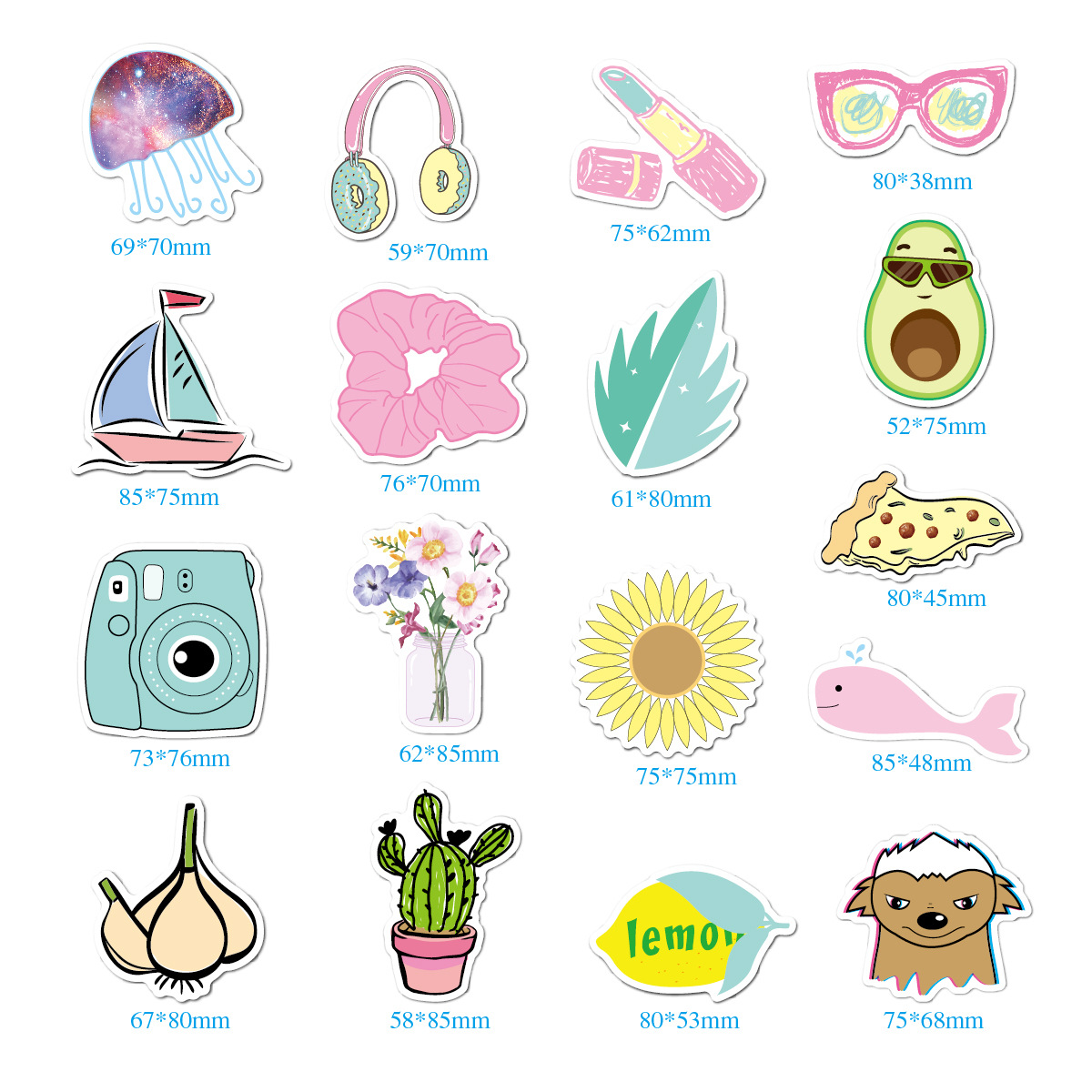 35pcs / Lot Simple Cute Cartoon  Sticker for Girls DIY Laptop Notebook Luggage Guaitar Skateboard Toy Waterproof Sticker