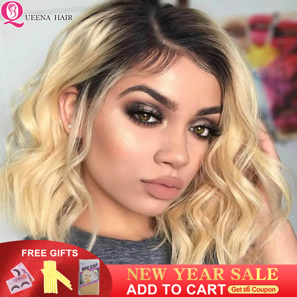13x4 Blonde Bob Lace Front Human Hair Wigs For Black Women 613 Short Ombre Body Wave Front Lace Wig Pre Plucked 150% Remy