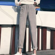 Women's Plus Size Pants New Solid Corduroy Pocket Elastic Waist Pencil Trousers Autumn Winter Fashion Casual Loose Pantalones#D(China)