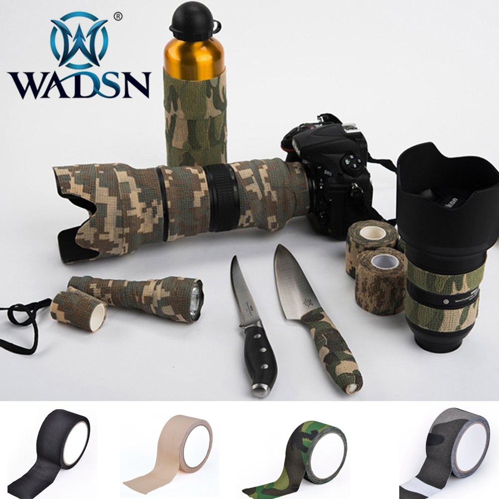 WADSN 5cm*10m Camo Cloth Tape Camouflage Stealth Waterproof Wrap Durable Airsoft Rifle Shooting Tool EX389 Paintball Accessories