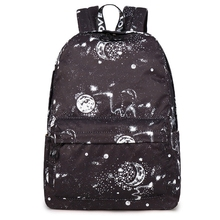 New Fashion Women Backpack Stylish Galaxy Star Universe Space Printing Girls Black Rucksack School Bags