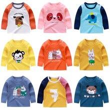 Новинка; Осенняя Повседневная футболка с длинными рукавами и рисунком для маленьких мальчиков и девочек; модные хлопковые топы для детей; 19