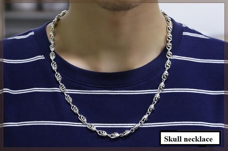 100% hecho a mano de plata 925 collar esqueleto calavera esterlina collar de hombre Hiphop PUNK collar joyería hombre regalo - 3