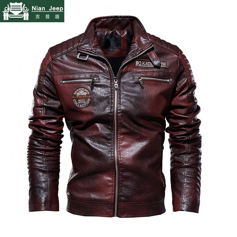 New Winter Fleece Military PU Leather Jacket Men Motorcycle Faux Leahter Jackets Male Windbreaker Chaqueta Cuero Hombre L-3XL
