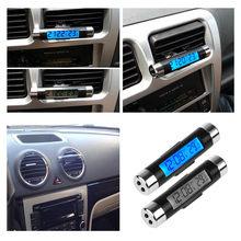 2 in 1 araba oto termometre saat takvim LCD dijital ekran Clip-on dijital mavi arka işık otomotiv aksesuarları