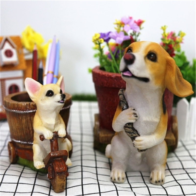 Simulation Animal Dog Cute Puppy Statue Chihuahua & Beagles Individuality Pencil Vase Resin Home Decor Action Figure Toy P1794